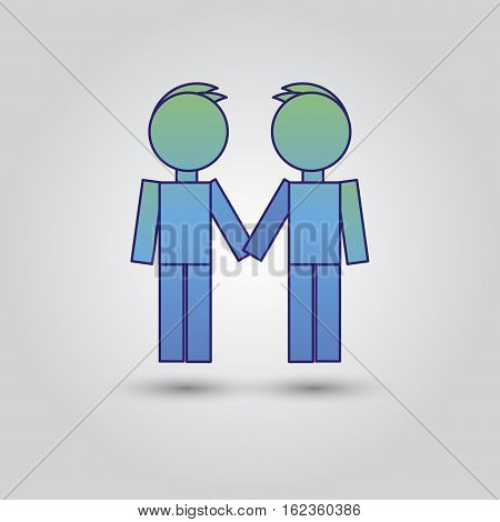 Two male stick figures standing beside each other, gay icon. Friendship.