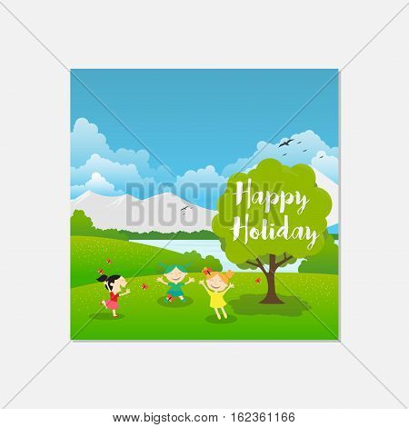 Illustration Happy Holiday in Flower Garden, This design is suitable for a brochure, banner or poster
