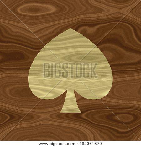 Natural wooden wood textured texture spade leaf symbol sign shape frame