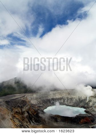 Acid Lake In Active Volcanic Crater