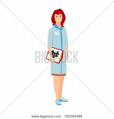 Vector illustration of a woman in blue coat. Flat style doctor character. Professional cartoon psychotherapist medical human worker. Uniform occupation person isolated female.