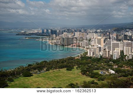 Aerial view over Waikiki as seen from the top of Diamond Head a crater of a dormant volcano