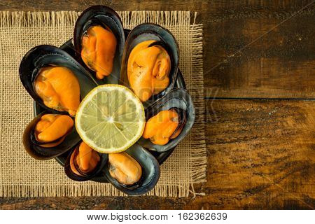 Delicius appetizer with natural mussels and lemon