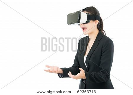 Asian Business Woman Surprise Receive Gift By Vr Headset