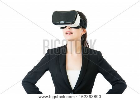 Success Business Asian Woman Learn Use Vr Headset Glasses