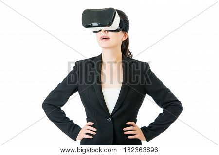 Success Business Asian Woman Arms Waist With Vr Headset