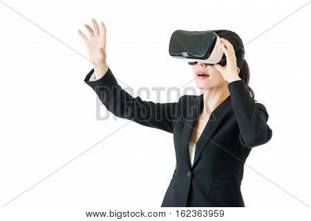 Asian Business Woman Touch Screen By Vr Headset Glasses