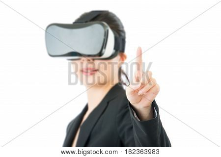 Asian Business Woman Point Screen By Vr Headset Glasses
