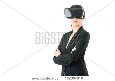Success Business Woman Cross Arms With Vr Headset Glasses