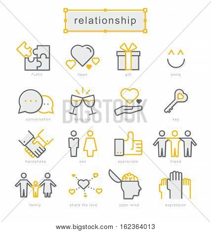 Thin line icons set, Linear symbols set, Relationship