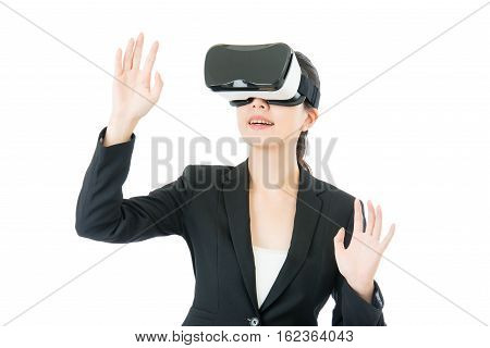 Asian Business Woman Organize Workflow By Vr Headset Glasses