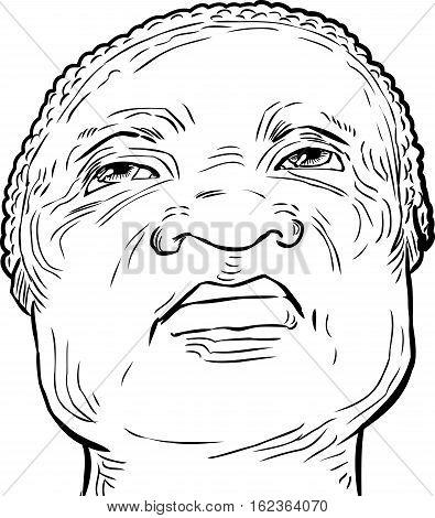 Outlined Senior Man Looking Upward