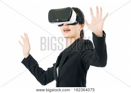Asian Business Woman Hand Touch Screen By Vr Glasses