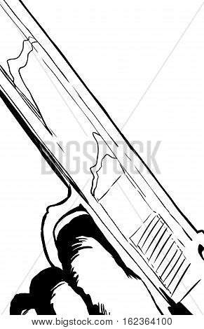Outline Illustration Of Close Up On Pistol With Finger On Trigger