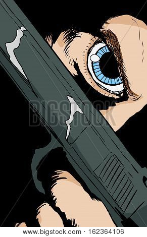 Blue Eyed Person Holding Pistol Close To Face