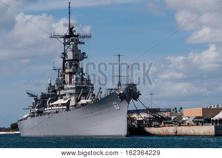 The Battleship Missouri in Pearl Harbor Honolulu Hawaii. The