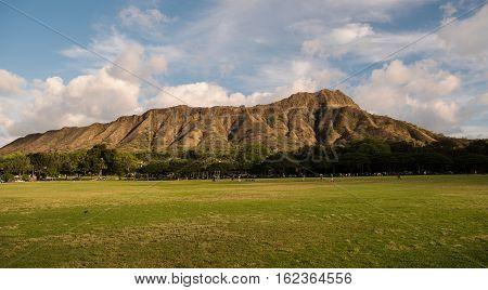 View from Kapiolani Regional Park towards Diamond Head Crater Waikiki Hawaii