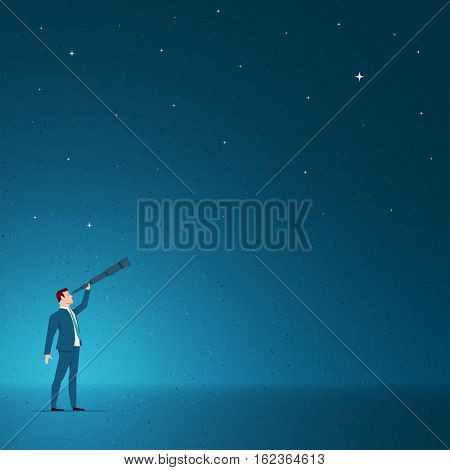 Business concept vector illustration. Growth, vision, business opportunities, seeing future concept. Elements are layered separately in vector file.