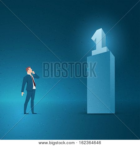 Business concept vector illustration. Winning, vision, success, thinking concept. Elements are layered separately in vector file.