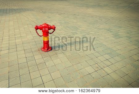 Fire hydrants outside building on public road.