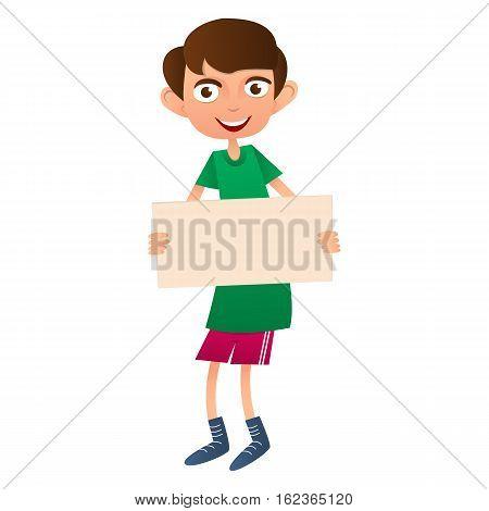 Vector Cute Teen boy holding poster. Flat