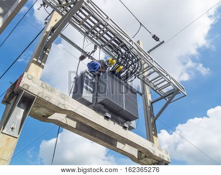 Large Electric transformers are used in factories