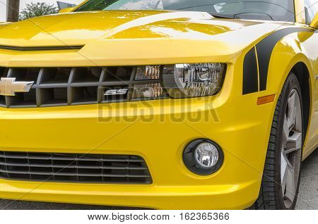 Yellow Chevrolet Camaro Ss Convertible Front Side Details