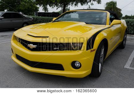 Yellow High Tech Chevrolet Camaro Ss Convertible