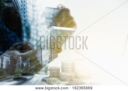 Double Exposure Of Hand Holding Credit Card With Hand For Payment Online Shopping, This Lifestyle Ne