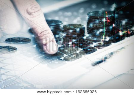 Double Exposure Of Business Concept Finger Pointing Delete Key On A Metallic Keyboard,copy Space,moc