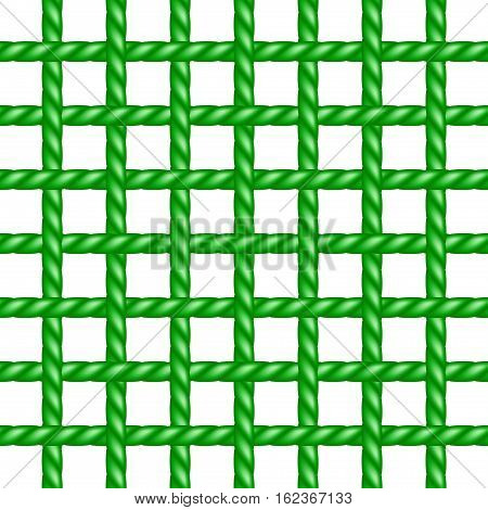 Net of rope in green design on white background