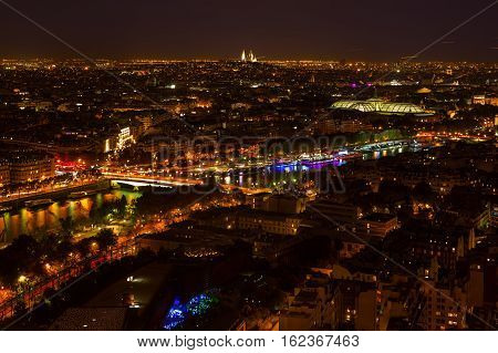 Aerial View Of Paris, France, At Night