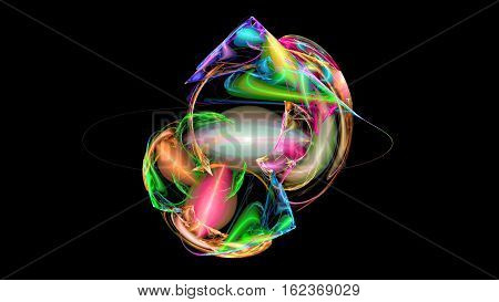 Colorful shapes and prism abstract background 3D