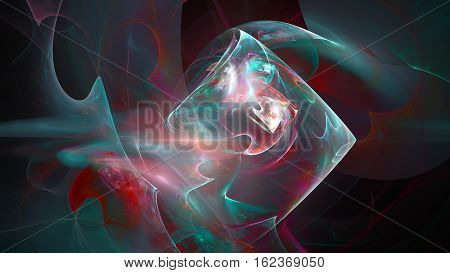 Colorful prism and smoke abstract background 3D