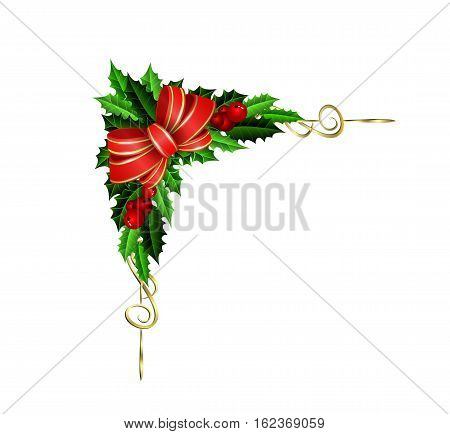corner Christmas decoration element with evergreen treess holly golden bells and bow isolated