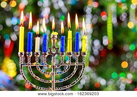 Jewish Holiday  Symbol Hanukkah Background With Menorah