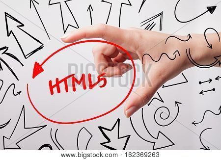 Technology, Internet, Business And Marketing. Young Business Woman Writing Word: Html5