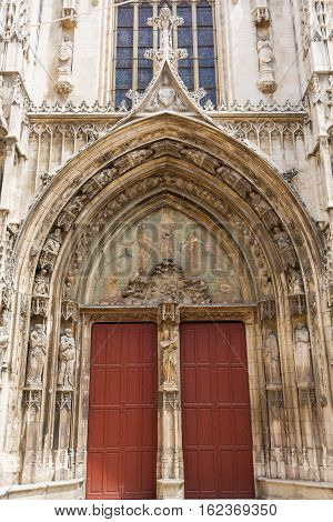 Portal Of The Cathedral Saint-sauveur In Aix-en-provence, France