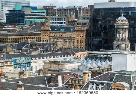 aerial view over the roofs of Glasgow Scotland UK