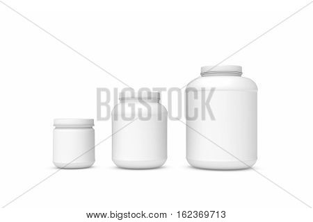 3d rendering of three blank white plastic jars of different sizes isolated on white background. Cans and containers. Loading and transportation. Liquid and bulk cargo.