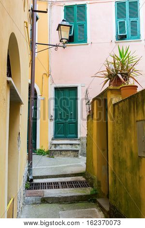 Alley With Old Buildings In Monterosso Al Mare