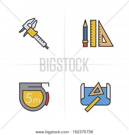 Engineering color icons set. Caliper, pencil and ruler, measuring tape, drawing and measuring rulers . Logo concepts. Vector isolated illustration