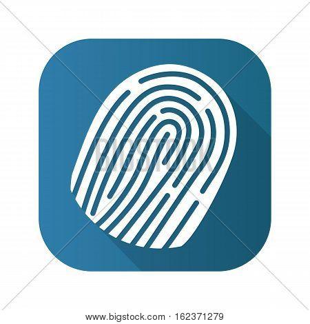 Fingerprint flat design long shadow icon. Vector silhouette symbol