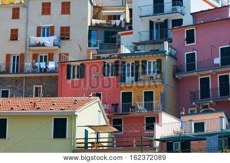Colorful Old Houses In Manarola, Italy
