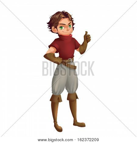 Cool Characters Series: Young Boy Scout isolated on White Background. Video Game's Digital CG Artwork, Concept Illustration, Realistic Cartoon Style Background and Character Design