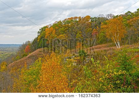 Fall Colors on a Midwest Bluff at Nelson Dewey State Park in Wisconsin