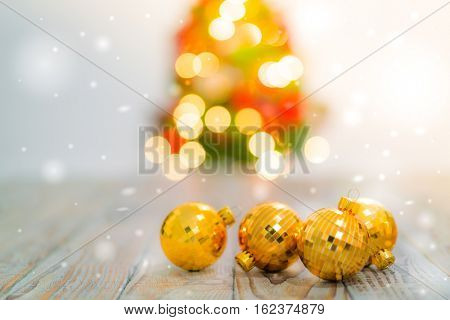 Christmas table background with decorations