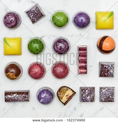 Set of multi-colored sweets tasty
