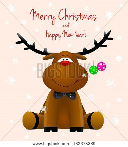 Cartoon reindeer on a greeting card with the Merry Christmas.