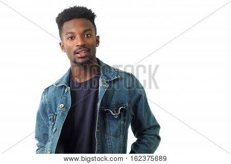 young man blue jeans jacket posing studio shot white background